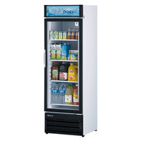 Turbo Air TGM-14RV-N6 White Refrigerated Glass Door Merchandiser with LED Lighting and Advertising Panel