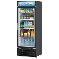 Turbo Air TGM-22RVB-N6 Black Refrigerated Glass Door Merchandiser with LED Lighting and Advertising Panel