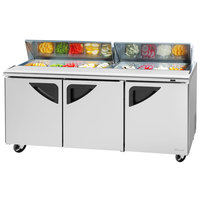 Turbo Air TST-72SD-N 73 inch Super Deluxe 3 Door Refrigerated Sandwich Prep Table