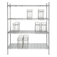 Regency 24 inch x 60 inch Chrome Wire Shelf Kit with 7 Can Racks and 74 inch Posts