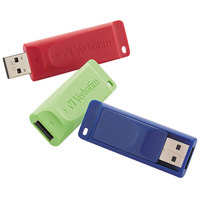 Verbatim 98703 Store 'n' Go Assorted Colors 8 GB USB Flash Drive - 3/Pack