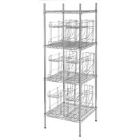 Regency 24 inch x 24 inch Chrome Wire Shelf Kit with 6 Can Racks and 74 inch Posts