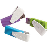 Verbatim 98426 Store 'n' Go Swivel Assorted Colors 8 GB USB Flash Drive   - 3/Pack