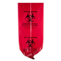 33 Gallon 33 inch x 40 inch Red Isolation Infectious Waste Bag / Biohazard Bag Linear Low Density 1.2 Mil - 100/Case