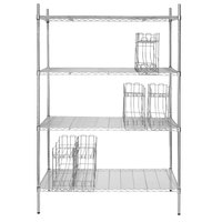 Regency 24 inch x 48 inch Chrome Wire Shelf Kit with 5 Can Racks and 74 inch Posts