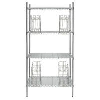 Regency 24 inch x 36 inch Chrome Wire Shelf Kit with 4 Can Racks and 74 inch Posts