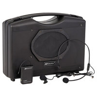 AmpliVox SW222A 50W Black Bluetooth Audio Portable Buddy Stereo Amplifier with Wireless Hands-Free Microphone Headset
