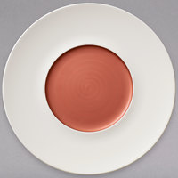 Villeroy & Boch 16-4070-2794 Copper Glow 11 1/4 inch White Rim with 5 3/4 inch Copper Well Premium Porcelain Flat Coupe Plate - 6/Case