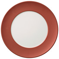 Villeroy & Boch 16-4070-2590 Copper Glow 12 1/2 inch Copper Rim with White Well Premium Porcelain Flat Coupe Plate   - 6/Case