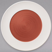 Villeroy & Boch 16-4070-2591 Copper Glow 12 1/2 inch White Rim with Copper Well Premium Porcelain Flat Coupe Plate - 6/Case