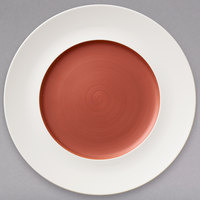 Villeroy & Boch 16-4070-2797 Copper Glow 11 1/4 inch White Rim with 7 inch Copper Well Premium Porcelain Flat Coupe Plate - 6/Case