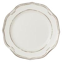 Villeroy & Boch 16-4059-2620 La Scala Patina 10 1/2 inch White Premium Porcelain Flat Coupe Plate - 6/Case
