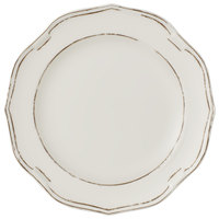 Villeroy & Boch 16-4059-2600 La Scala Patina 11 1/2 inch White Premium Porcelain Flat Coupe Plate - 6/Case