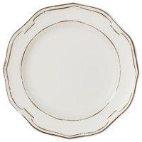 Villeroy & Boch 16-4059-2630 La Scala Patina 9 1/2 inch White Premium Porcelain Flat Coupe Plate - 6/Case