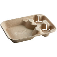 EcoChoice Molded Fiber / Pulp 8-44 oz. 2-Cup Carrier with Large Tray - 50/Pack