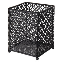 Tablecraft HU45BK Farmhouse 4 1/2 inch x 4 1/2 inch x 5 7/8 inch Black Powder Coated Metal Utensil Holder