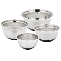 Heavyweight Stainless Steel 4-Piece Mixing Bowl Set with Bottom Grip/Non-Slip Base