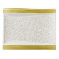Villeroy & Boch 16-4038-2646 Amarah 10 1/4 inch x 7 11/16 inch Reed Premium Porcelain Rectangular Salad Plate   - 4/Case