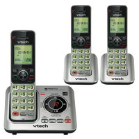 Vtech CS6629-3 Black / Silver Cordless Answering System with 2 Additional Handsets