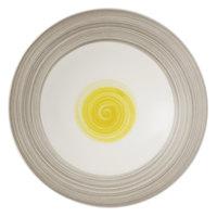Villeroy & Boch 16-4037-2701 Amarah 11 1/4 inch Date Flower Premium Porcelain Deep Coupe Plate - 6/Case