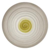 Villeroy & Boch 16-4038-2595 Amarah 12 1/2 inch Reed Premium Porcelain Flat Coupe Plate - 6/Case