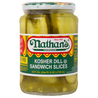 Nathan's Famous 32 oz. Kosher Dill Pickle Sandwich Slices - 12/Case