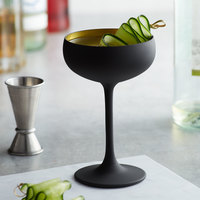 Stolzle 2730008T/2492 8 oz. Glisten Matte Black / Gold Coupe Cocktail Glass - 6/Case