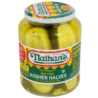 Nathan's Famous 32 oz. New York Kosher Pickle Halves - 12/Case