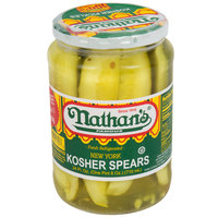 Nathan's Famous 24 oz. New York Kosher Pickle Spears - 12/Case