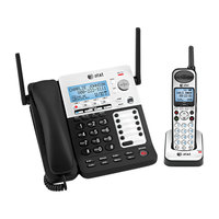 AT&T SB67138 SynJ Black / Silver 4 Line Corded / Cordless Phone System with DECT 6.0 Technology