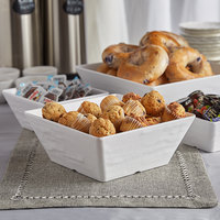 American Metalcraft FSWMEL94 125 oz. White Faux Slate Square Melamine Serving Bowl