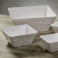 American Metalcraft FSWMEL117 228 oz. White Faux Slate Square Melamine Serving Bowl