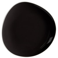 Schonwald 9381215-63012 WellCome 6 1/8 inch Black Flat Coupe Porcelain Organic Plate - 12/Case