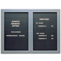 Quartet 2964LM Radius Design 48 inch x 36 inch Changeable 2 Door Letter Directory with Graphite Frame