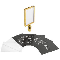 Lancaster Table & Seating Gold 8 1/2 inch x 12 1/2 inch Stanchion Sign Frame and Sign Set with Clear Covers