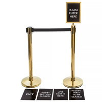 Lancaster Table & Seating Gold 36 inch Crowd Control / Guidance Stanchion Kit including Frame & Sign Set with Clear Covers