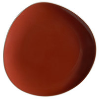 Schonwald 9381215-63010 WellCome 6 1/8 inch Red Flat Coupe Porcelain Organic Plate - 12/Case