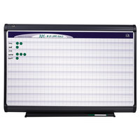 Quartet PP1164 Prestige Plus 72 inch x 48 inch Magnetic DuraMax Porcelain Whiteboard Planning System with 1 inch x 1 inch Grid