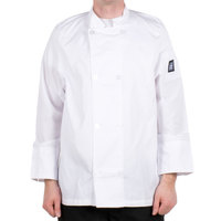 Chef Revival Bronze J049-XS Cool Crew Size 32 (XS) White Customizable Poly-Cotton Long Sleeve Chef Jacket