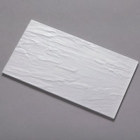 American Metalcraft FSLW08 8 1/4 inch x 14 3/4 inch White Faux Slate Melamine Platter