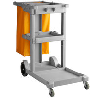 Lavex Lodging Gray Cleaning Cart / Janitor Cart with 3 Shelves and Vinyl Bag
