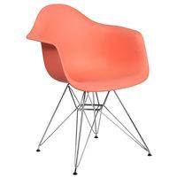 Flash Furniture FH-132-CPP1-PE-GG Alonza Peach Plastic Chair with Chrome Base