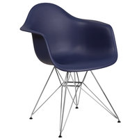 Flash Furniture FH-132-CPP1-NY-GG Alonza Navy Plastic Chair with Chrome Base