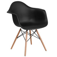 Flash Furniture FH-132-DPP-BK-GG Alonza Black Plastic Chair with Wood Base