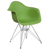 Flash Furniture FH-132-CPP1-GN-GG Alonza Green Plastic Chair with Chrome Base