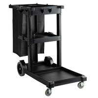 Lavex Lodging Black Cleaning Cart / Janitor Cart with 3 Shelves and Vinyl Bag