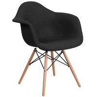 Flash Furniture FH-132-DCV1-FC01-GG Alonza Black Fabric Chair with Wood Base