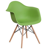 Flash Furniture FH-132-DPP-GN-GG Alonza Green Plastic Chair with Wood Base