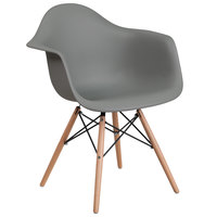 Flash Furniture FH-132-DPP-GY-GG Alonza Gray Plastic Chair with Wood Base