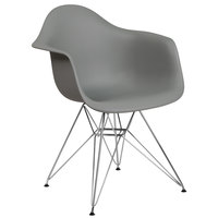 Flash Furniture FH-132-CPP1-GY-GG Alonza Gray Plastic Chair with Chrome Base